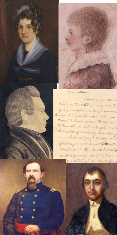 Mosaic image with portraits and handwritten letters